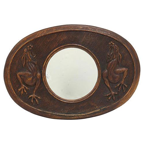 Arts & Crafts Carved Gargoyle Mirror