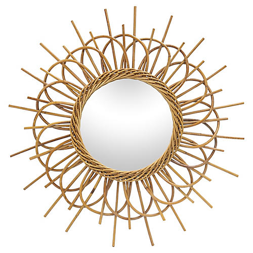 Mid-Century French Bamboo Mirror