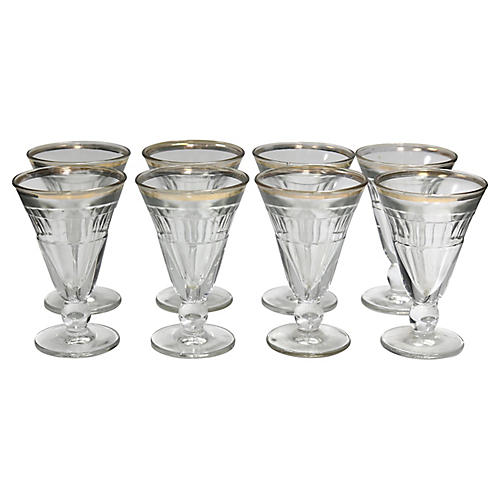 1920s French Bistro Glasses, S/8