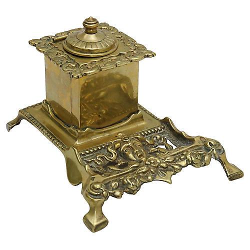 Antique English Brass Desk Piece