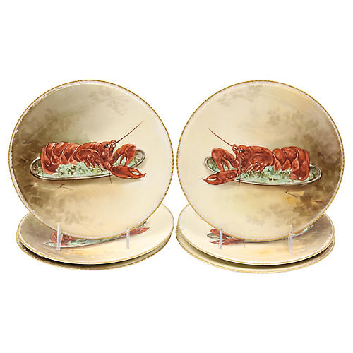Hand-Painted Limoges Lobster Plates, S/6