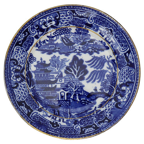 19th-C Willow Hors d'oeuvres Plates, S/6