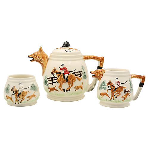 English Hunting Scene Tea Service, 3 Pcs