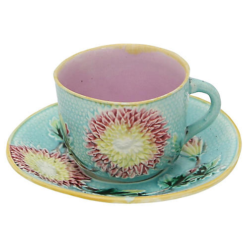 English Majolica Floral Cup & Saucer