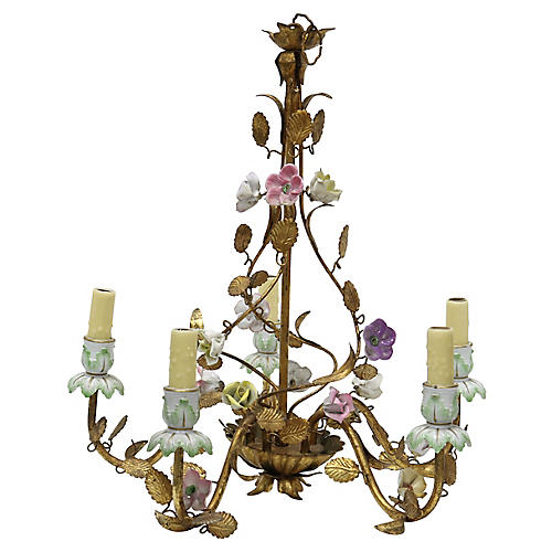 Italian Gilt & Porcelain Chandelier