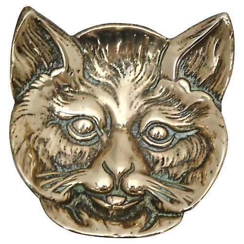 Antique English Brass Cat Pin Dish