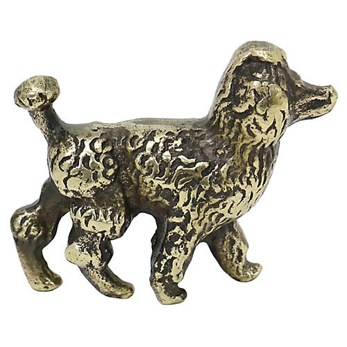 English Brass Poodle Paperweight