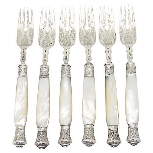 1868 Pearl Handled Sterling Forks, S/6