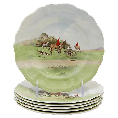 Doulton Hunt Scene Dessert Plates, S/6