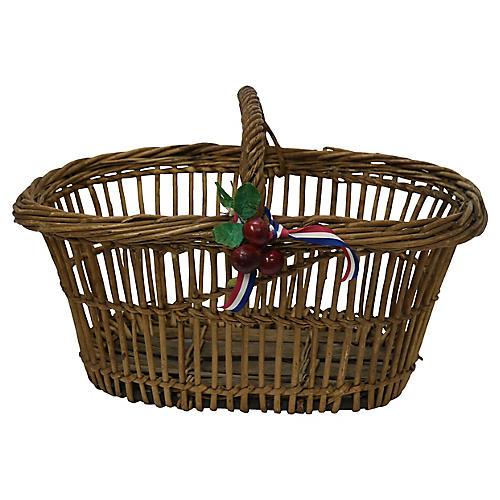 Antique French Marketing Basket w/Cherry