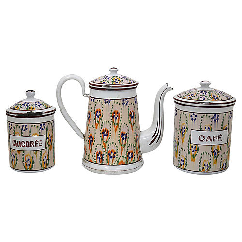 Antique French Enameled Metal Coffee Set