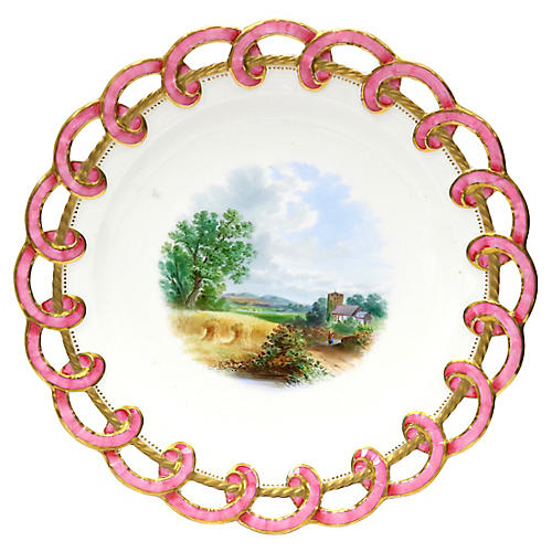 Antique Ribbon Edge Hand-Painted Plate