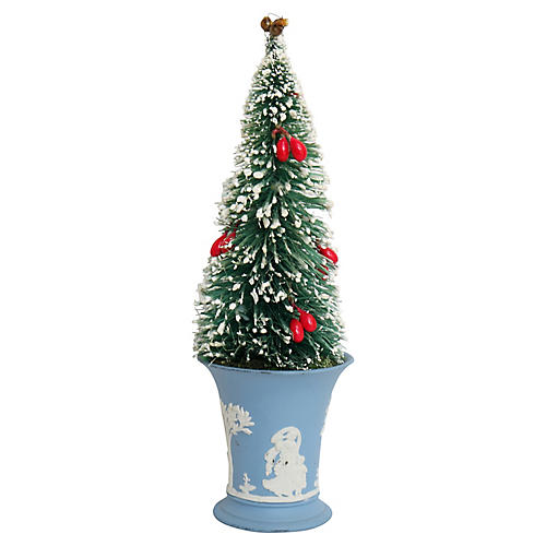 1960s Bottle Brush Tree in Wedgwood Pot