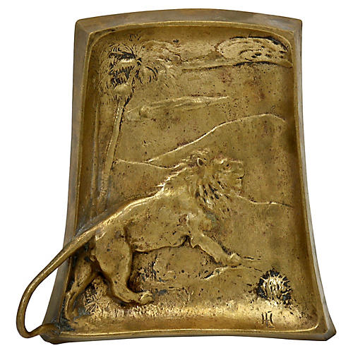 Antique French Bronze Lion Catchall