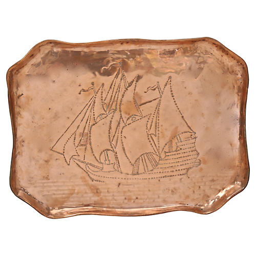 English Copper Clipper Ship Tray