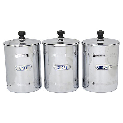 Mid-Century French Coffee Canisters, S/3