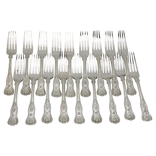 "Kings Pattern Forks w/""D"" Monogram, S/18"