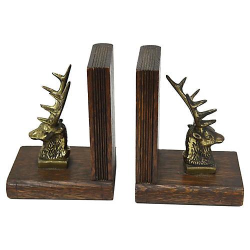 Brass & Oak Deer Bookends, Pair