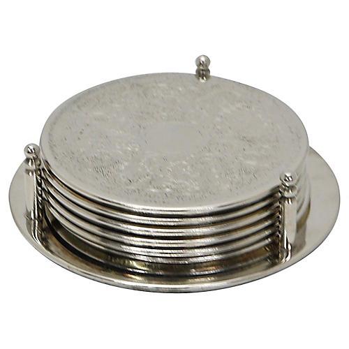 English Silver-Plate Coaster Set, 7Pcs