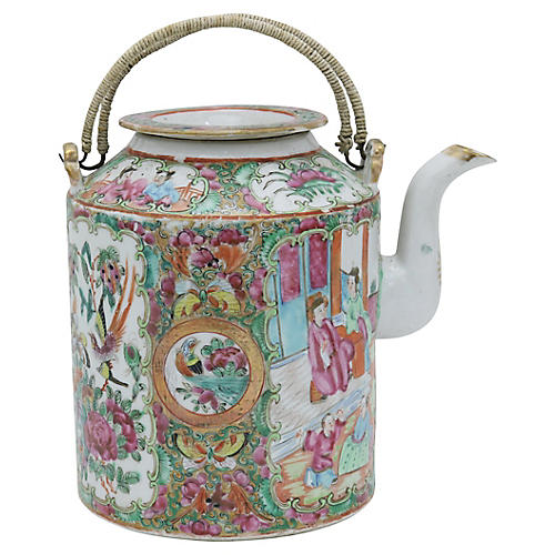 Antique Chinese Famile Rose Teapot