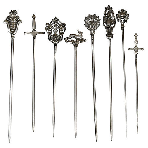 Antique French Silver-Plate Skewers, S/8