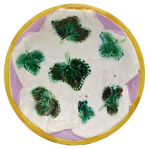 George Jones Majolica Leaf Dish