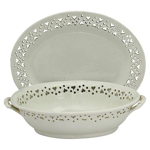 English Creamware Serving Pair, C. 1820
