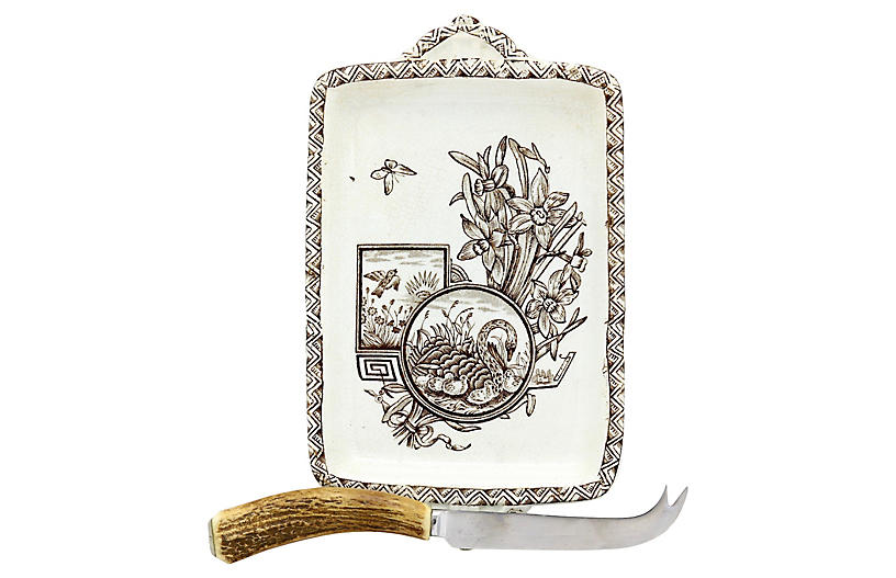 Aesthetic Movement Cheese Plate & Knife