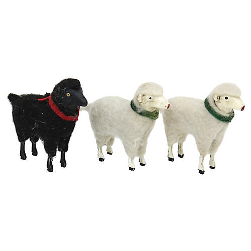 1960s German Holiday Sheep Figures, S/3