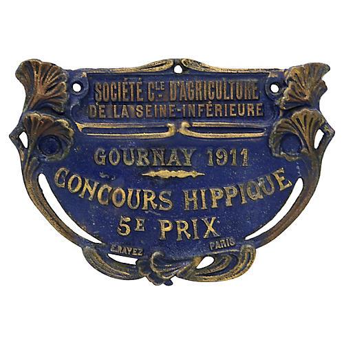 1911 Paris Horse Show Trophy Plaque