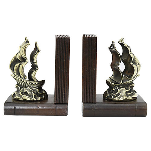Antique English Brass Ship Bookends, Pr