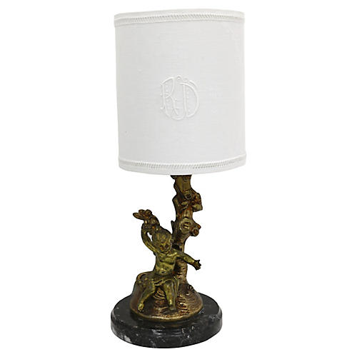 Boudoir Lamp, Cherub & Antique Shade