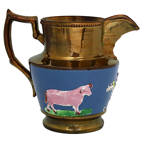 Antique English Luster Jug w /Cow & Dog
