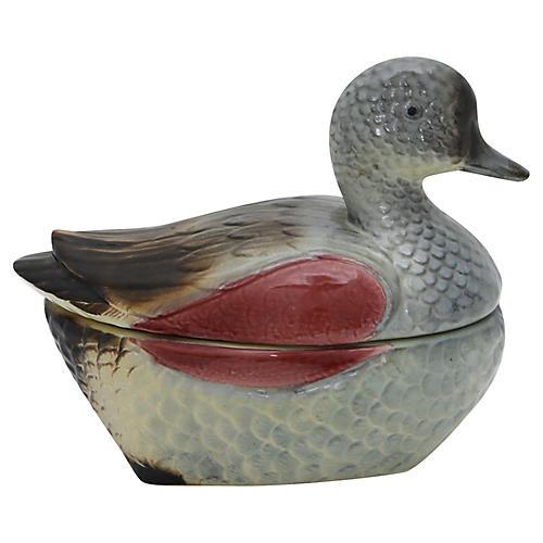 French Majolica Duck Pâtè Tureen