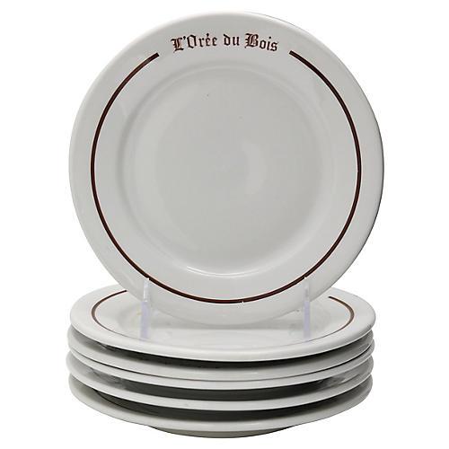 French Paris Bistro Dessert Plates, S/6