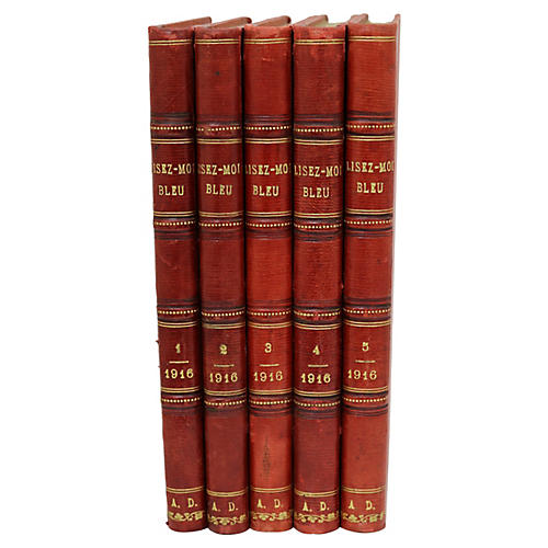 French Leather-Bound Books, S/5