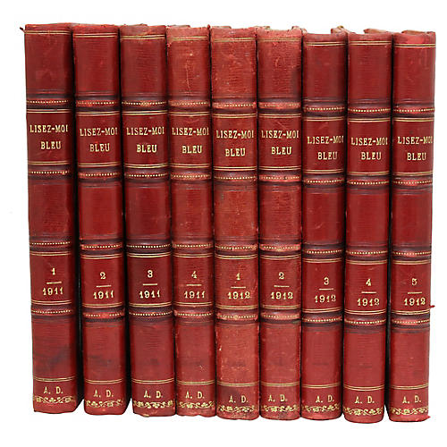 French Leather-Bound Books, S/9