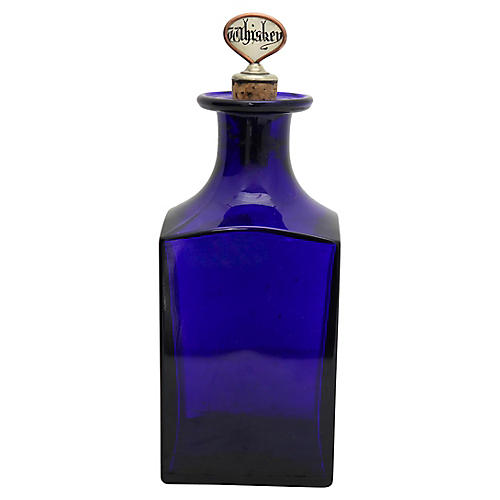 Antique Cobalt Whiskey Decanter
