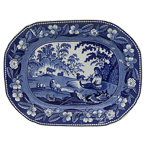 "1830s ""Boy Piping"" Staffordshire Platter"