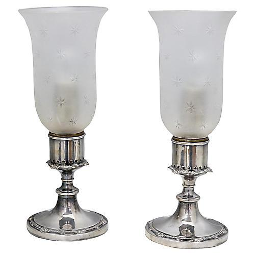Antique Silver-Plate Boudoir Star Lamps