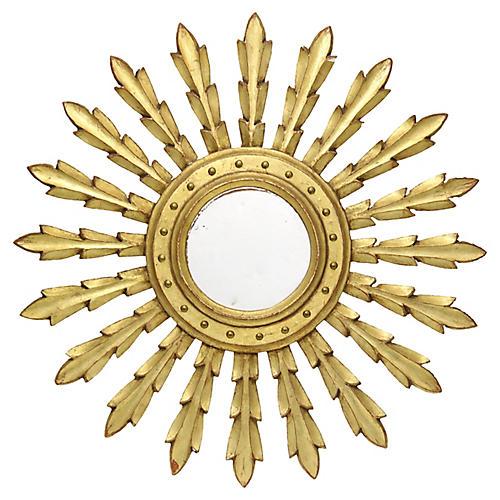 Mid-Century French Sunburst Wall Mirror