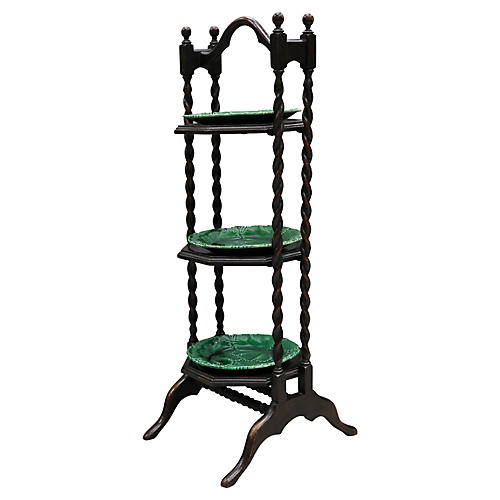 Antique Serving Tower w/ Majolica Plates