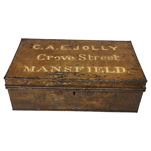 Painted Tin Document Box, C.1860