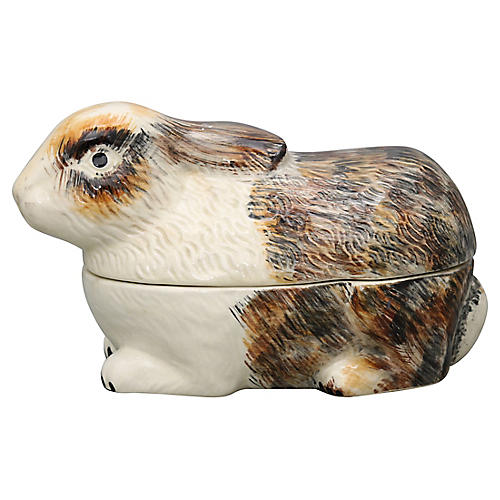 French Majolica Rabbit Tureen