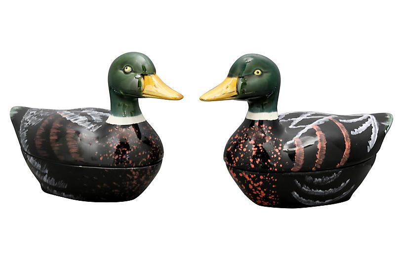 French Majolica Duck Pâté Tureens, Pair