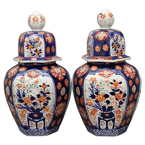 Antique Japanese Imari Urns, Pair