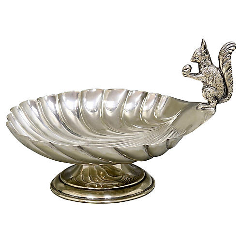 Antique Silver-Plate Squirrel/Shell Dish
