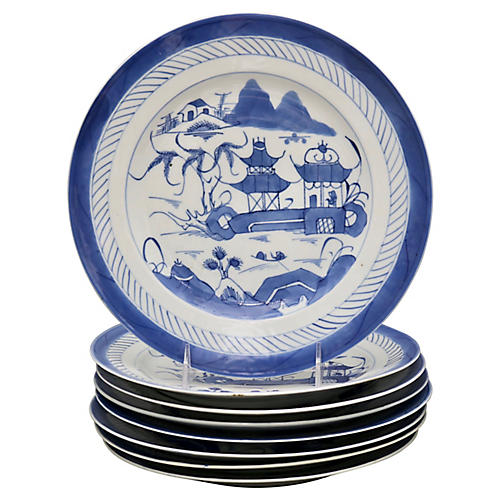 Chinese Export Canton Dinner Plates, S/8