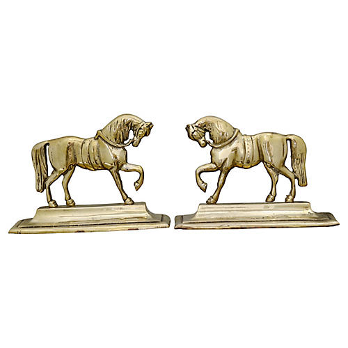 English Brass Horse Fireplace Ornaments
