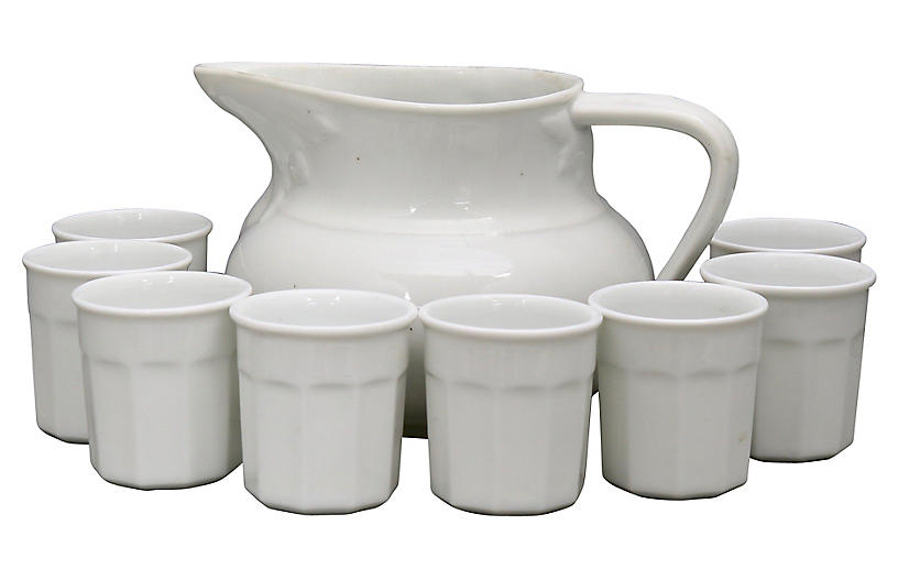 French White Porcelain Juice Set, 9 Pcs